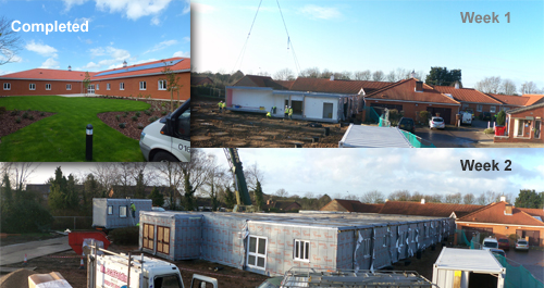 Three images showing the rapid expansion of North Walsham Hospital using offsite construction